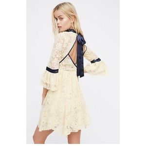 Free People Ivory Gilded Lace Mini Dress Ribbon S